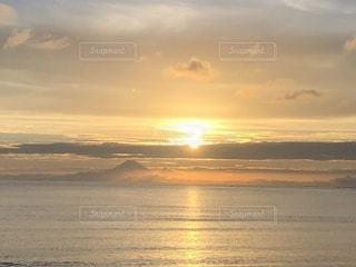 自然,海,夏,夕日,富士山,夕焼け,海岸