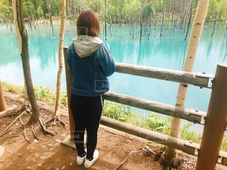 青い池と女性の写真・画像素材[1582907]