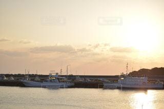 海,空,夏,夕日,船,港,夕陽,種子島
