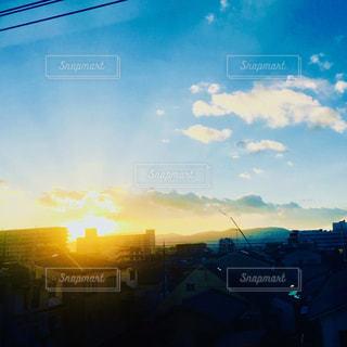 空,京都,電車,夕暮れ,日本,車窓,色・表現