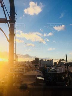 夕日,京都,電車,日本,車窓,鉄道