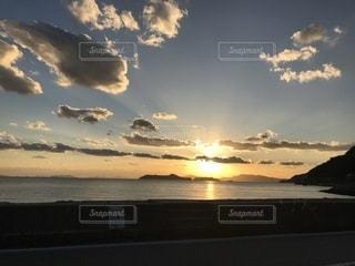 海,空,夕日,海岸,広島,海岸沿い,蒲刈町