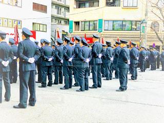 男性,屋外,人,立つ,グループ,制服,パレード,整列,消防団,出初式,男性社会