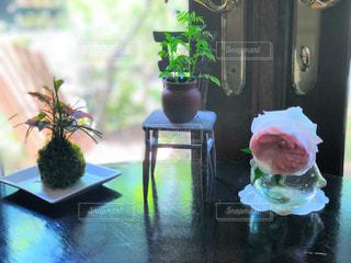 テーブルの上の花の花瓶の写真・画像素材[2140790]