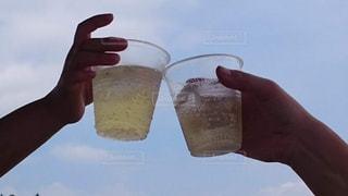 空,夏,屋外,川,グラス,天井,乾杯,ドリンク,アルコール