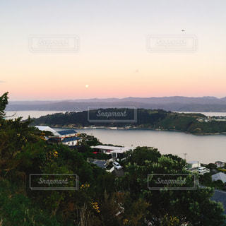 夕日,湖,太陽,夕焼け,山,サンセット