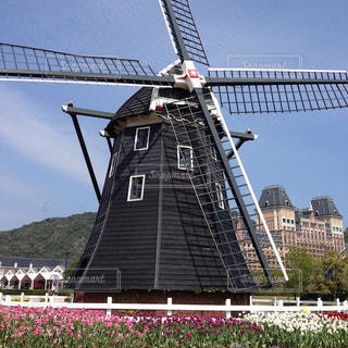 水の大きな体の横にある風車の写真・画像素材[1389635]