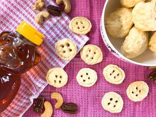 ピンク,クッキー,ハンドメイド,手作り,ホットケーキミックス,ボタンクッキー,電子レンジレシピ