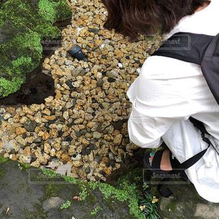 岩の上に座っている人の写真・画像素材[1505681]