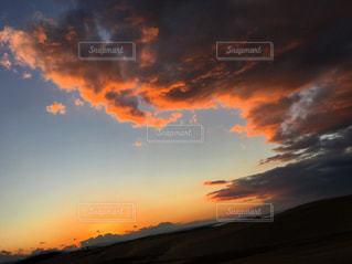 空,夕日,夕焼け,夕陽,鳥取砂丘