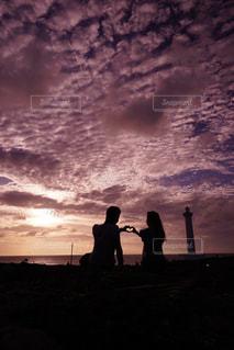 空,夏,夕日,カップル,雲,夕焼け,沖縄,シルエット,ハート,地平線,サンセット