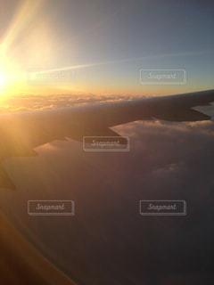 空,夕日,夕焼け,飛行機