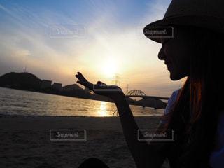 空,夕日,beach,サンセット,福井,水晶浜