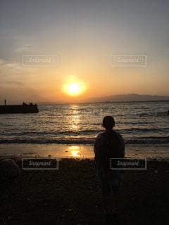 海,空,夕日,江ノ島