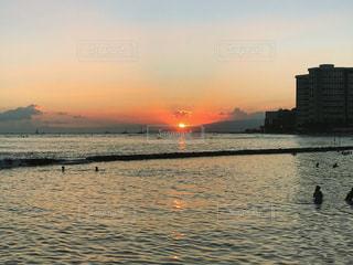 空,夕日,ビーチ,夕焼け,ハワイ,夕陽,ワイキキ,サンセット,ホノルル