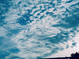 空,秋,雲,ブルー,昼,フィルム,うろこ雲,青い,うろこ