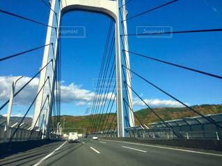 橋,紅葉,青空,車,山,道,車窓,山梨,秋空
