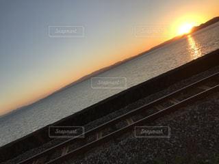 風景,夕日,線路