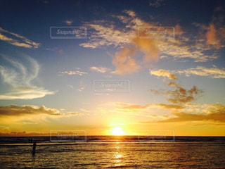 海,夏,夕日,夕焼け,水平線,グアム