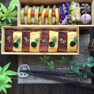 うな次郎と卵焼きのシマシマ弁当の写真・画像素材[1279332]