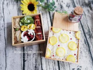 水玉風お弁当の写真・画像素材[2486418]