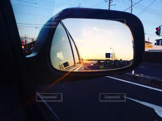 空,夕日,夕暮れ,車,景色,光,サイドミラー,仕事,栃木県