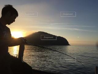 海,夕日,釣り