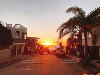 空,太陽,夕焼け,夕暮れ,アメリカ,光,道,ヤシの木,LA,ロサンゼルス