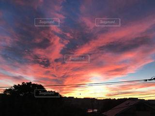 空,夕日,紅色,東京の田舎