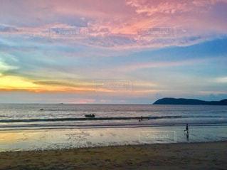 海,空,夕日,ピンク,水面