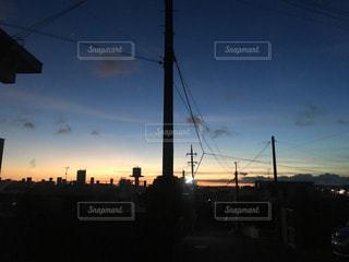 空,夕暮れ,電線