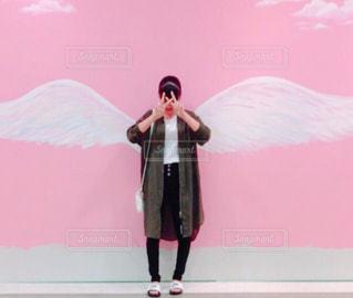 ピンク,女の子,羽,天使,徳島,ピンク色,桃色,白い羽