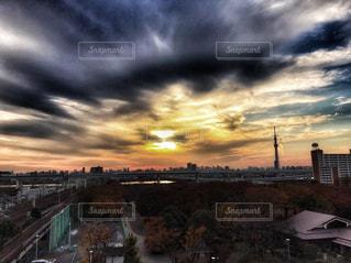 空,夕日,東京,スカイツリー,ポートレート,鶴