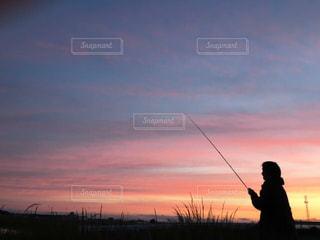 夕日,夕焼け,釣り人