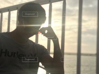 海,空,夕日,サングラス,沖縄,ポートレート,快晴,海沿い,瀬長島,iPhone7plus