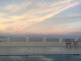 空,夕日,屋外,プール,リゾート