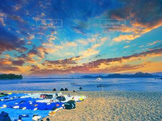 海,夕日,太陽,ビーチ,雲,夕暮れ,水面,海岸
