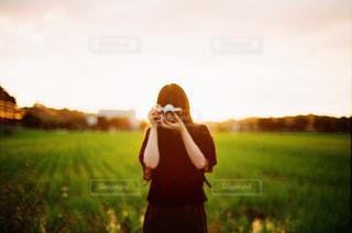 空,カメラ,夕日,ポートレート