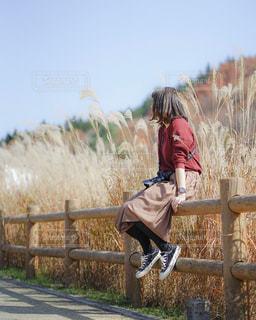 木製のフェンスの後ろに乗っている人の写真・画像素材[2736676]