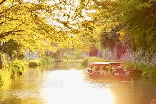 空,太陽,水面,夕方,光,樹木,旅,小舟,石垣,堀,水郷