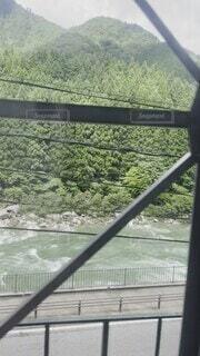 自然,雲,電車,青空,車,道路,山,旅,車窓,のんびり,長野県,信州,眺め,木曽川,木曽地方