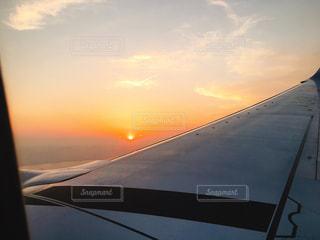 夕日,夕暮れ,飛行機,景色
