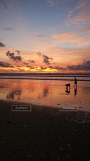 海,空,夕日,ビーチ,夕焼け,サンセット,バリ島,クタビーチ