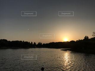 空,公園,夕日,湖,太陽,水面,反射,夕陽