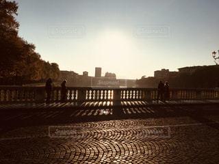 夕方の石橋、フィレンツェにての写真・画像素材[1288926]