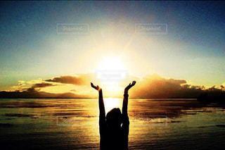 空,夕日,湖,影