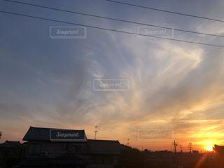 空,夕日,夕焼け,夕方,新潟県