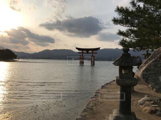 空,夕暮れ,旅,厳島神社,ノスタルジック