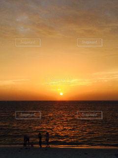 海,空,夕日,ビーチ,砂浜