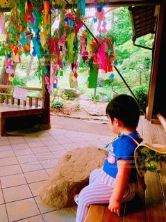 短冊を眺める子供の後ろ姿の写真・画像素材[1293389]